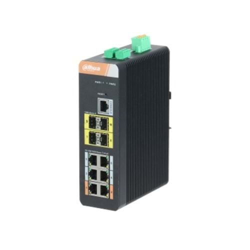 DH-PFS4410-6GT-DP 10 Port Gigabit(6 Port Gigabit PoE) Endüstriyel Switch (6GE PoE + 4GE SFP Total 120W PoE )